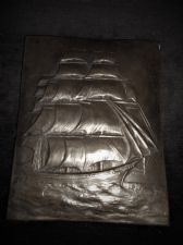 UNUSUAL RESIN PANEL / TILE 3D LEAD / SLATE / PEWTER LOOK SAILING GALLEON RELIEF
